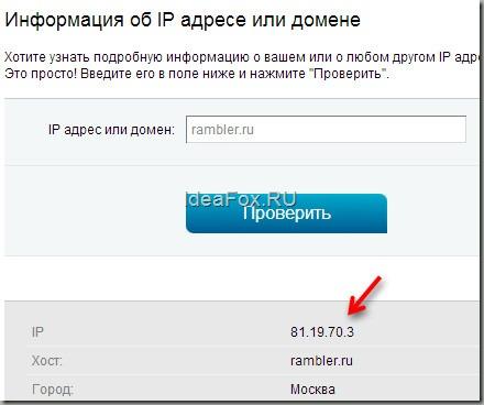 IP сайта определяем