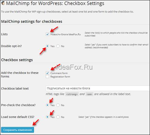 настройки плагина MailChimp for WordPress Lite